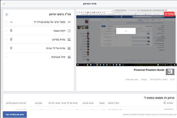 אנליטיקס על ביצועי הסרטון בפייסבוק