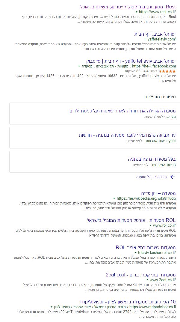 מסעדה בתל אביב - חיפוש בגוגל