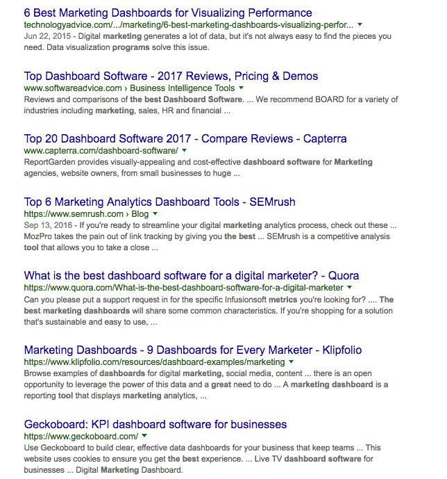 תוצאות חיפוש באנגלית על Marketing Dashboard
