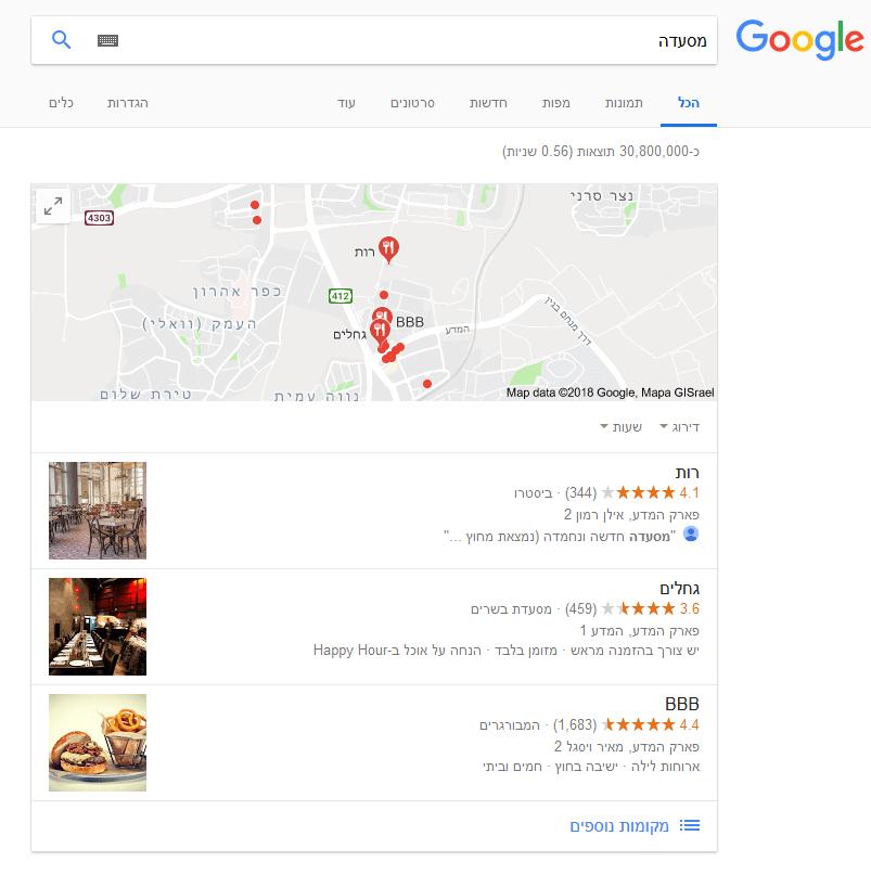 תוצאות מקומיות של חיפוש מסעדה בגוגל