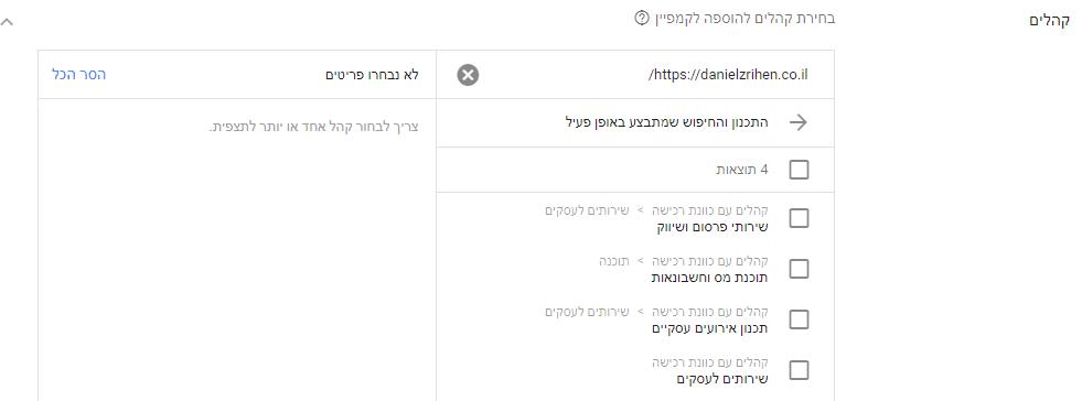 בחירת קהלים בקמפיין גוגל