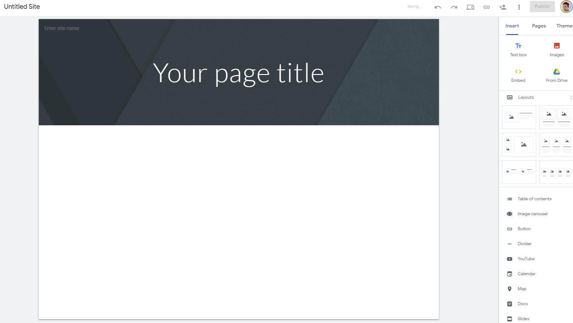 מערכת Google Sites לבניית אתרים בחינם