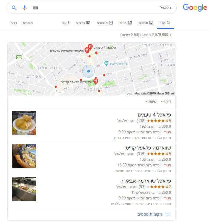 """חיפוש """"פלאפל"""" - תוצאות מקומיות של גוגל על בסיס מיקום """"רחובות"""""""