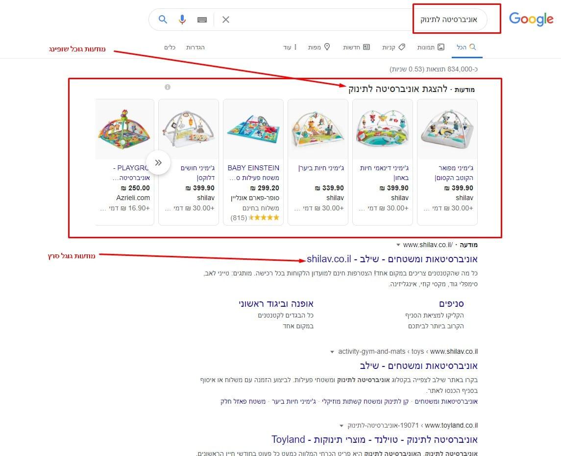 דוגמא למודעות גוגל שופינג