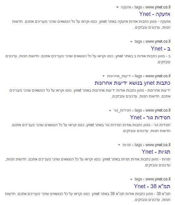 תיאורים של עמודי תגית באתר Ynet